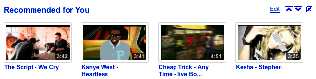 YouTube Recommended for You Widget